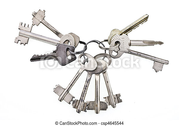 Bunch of keys on white background - csp4645544