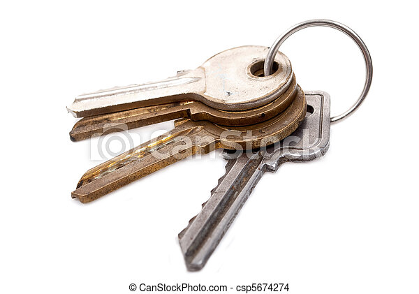 Bunch of keys on white background - csp5674274