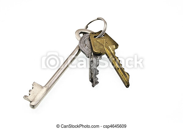 Bunch of keys on white background - csp4645609