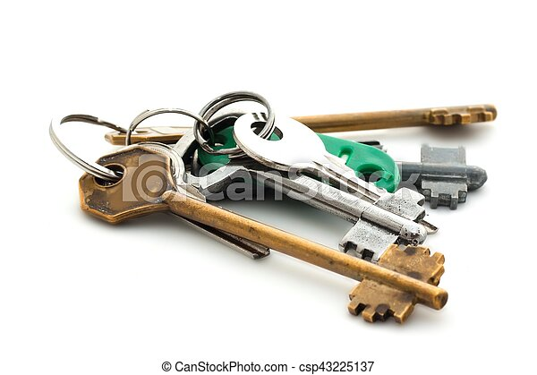 Bunch of keys on white background - csp43225137