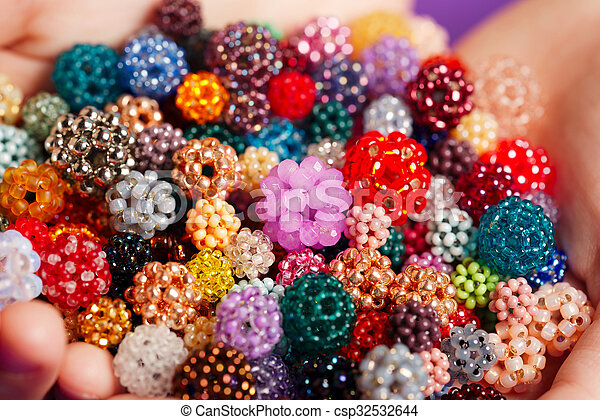 Bunch Of Little Balls Made Of Seed Beads Woven Colorful Balls Made Of Tiny Glass Seed Beads Closeup Canstock
