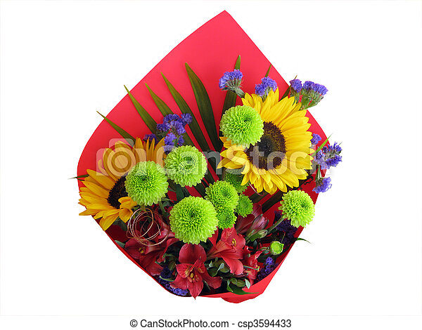Bunch of mixed flowers isolated with cutting-path - csp3594433