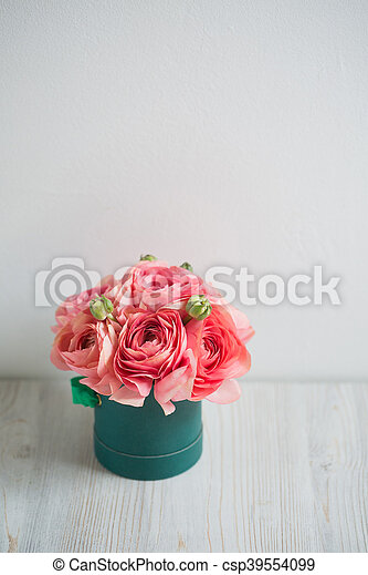 Bunch Of Pale Pink Ranunculus Persian Buttercup Light Background