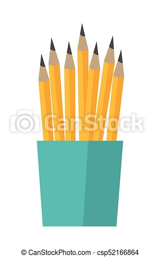 Bunch of pencils in a cup vector illustration. - csp52166864