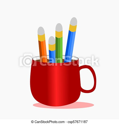Bunch of pencils in a red cup of coffee,illustration vector. - csp57671187