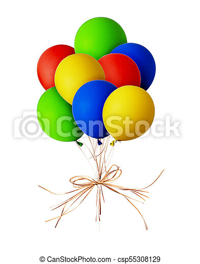 Bunch of red, blue, green and yellow balloons - csp55308129
