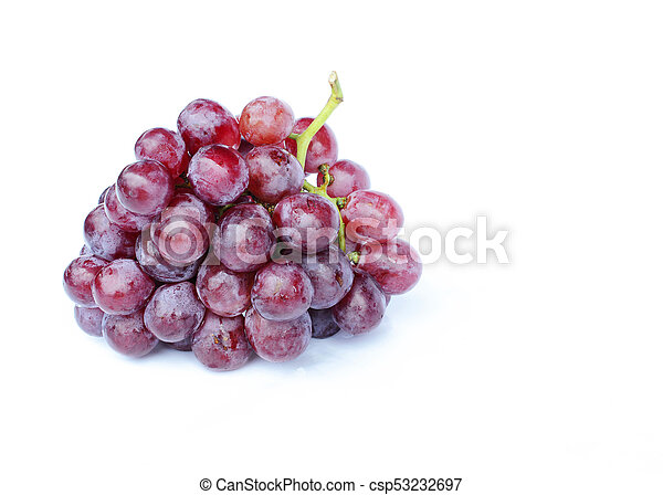 Bunch of red grapes Isolated on white backgrounds - include clipping path - csp53232697