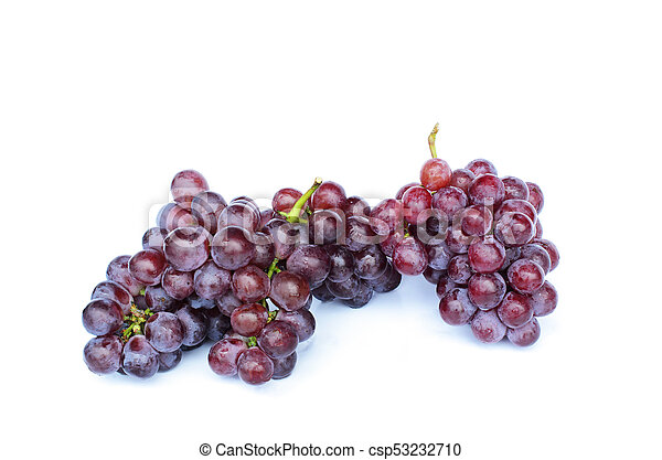 Bunch of red grapes on white backgrounds - csp53232710