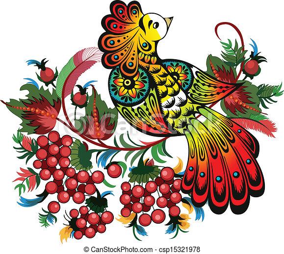 bunches of rowan and fabulous bird - csp15321978