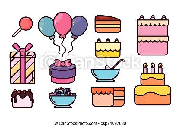 bundle birthday with icons set - csp74097630