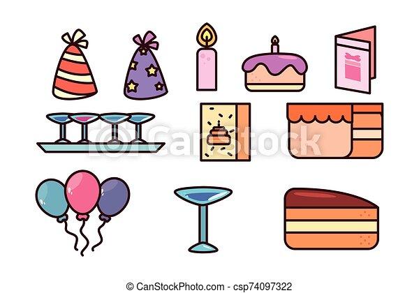 bundle birthday with icons set - csp74097322