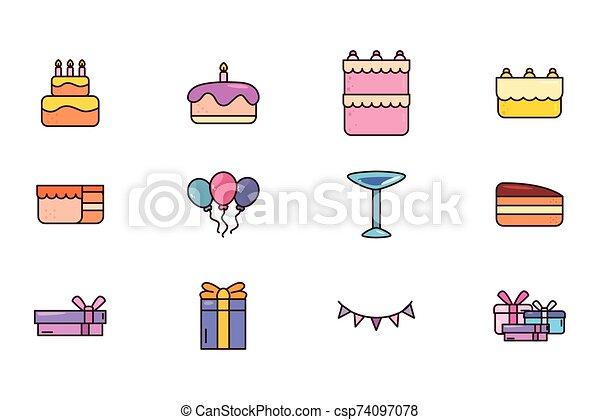 bundle birthday with icons set - csp74097078