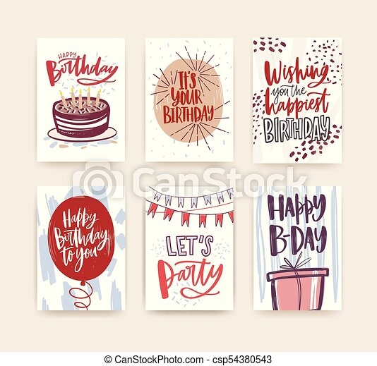 Bundle Of Birthday Greeting Card Postcard Or Party Invitation Templates Decorated With Handwritten