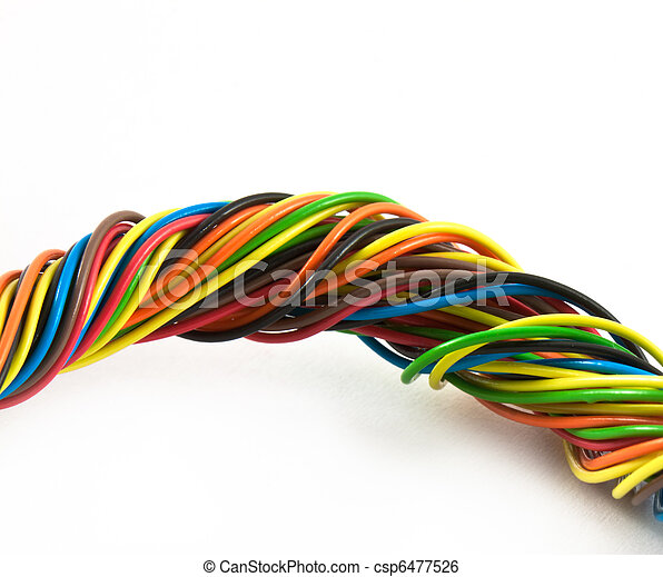 Bundle of color cables. Color wires isolated on white... stock image ...