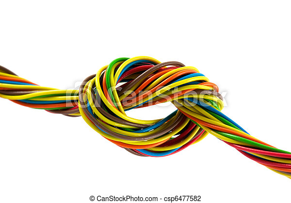 Bundle of color cables. Color wires isolated on white... stock photo ...