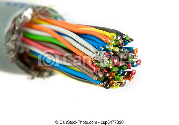 Bundle of color cables. Color wires isolated on white... stock ...