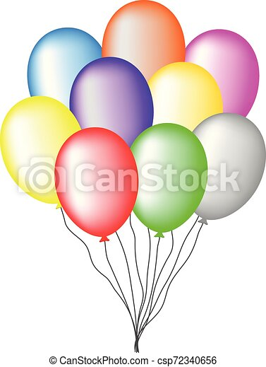 Bundle of Colored Balloons isolated on white background. For Greeting Card, Invitation. Vector Illustration for Your Design, Web. - csp72340656
