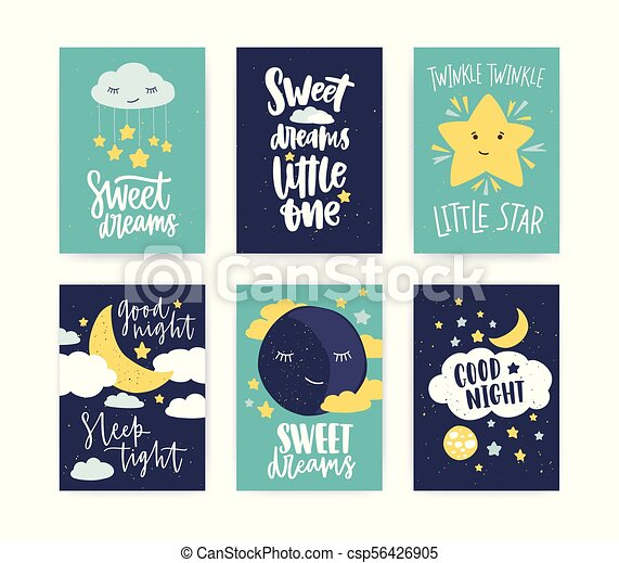 Bundle of colorful poster or flyer templates with Good Night and Sweet Dreams wishes with elegant lettering handwritten with calligraphic cursive font, clouds and stars. Flat vector illustration. - csp56426905