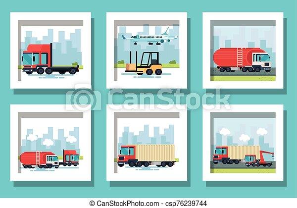 bundle of delivery vehicles transportation - csp76239744