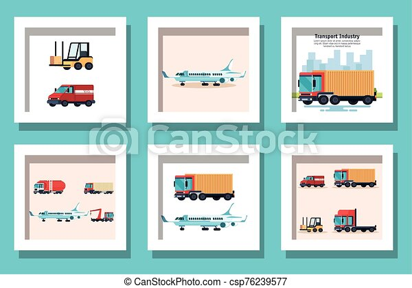 bundle of delivery vehicles transportation - csp76239577