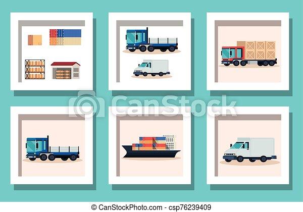 bundle of delivery vehicles transportation - csp76239409