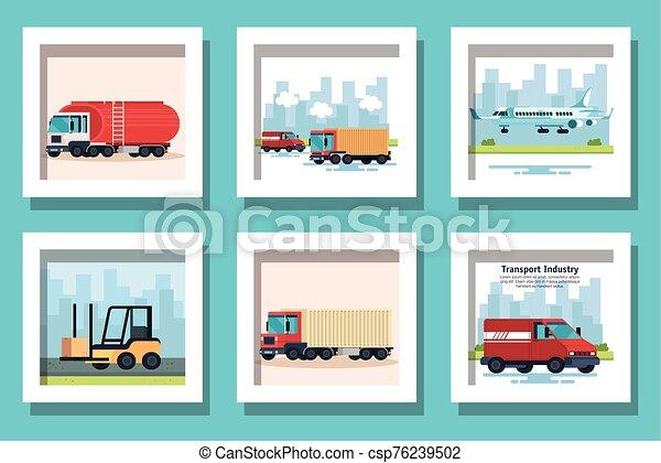 bundle of delivery vehicles transportation - csp76239502