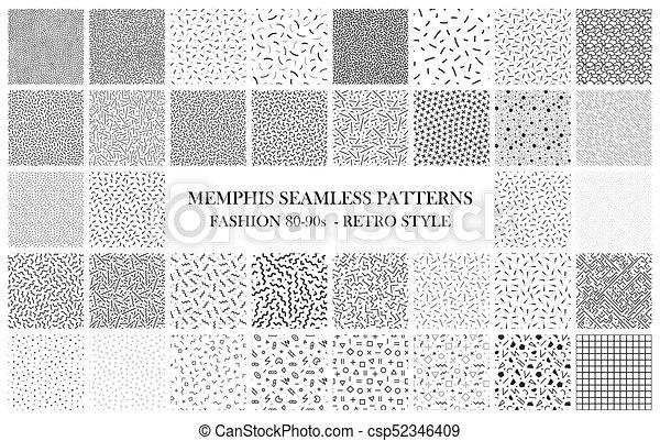 Bundle of Memphis seamless patterns. Fashion 80-90s. Black and white textures - csp52346409