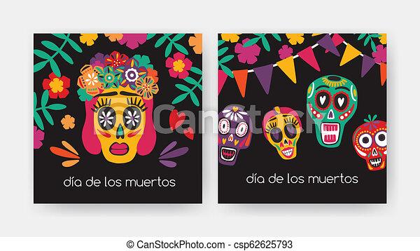 Bundle Of Square Cards With Dia De Los Muertos Inscription Mexican Calaveras Or Sugar Skulls Catrina S Face On Black Background Holiday Vector