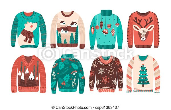 541167ec281e Bundle Of Ugly Christmas Sweaters Or Jumpers Isolated On White Background.  Set Of Seasonal Knitted