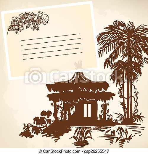 Bungalow and palms - csp26255547