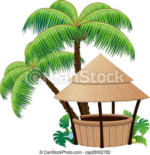 Bungalow bar and  palm trees - csp28002782