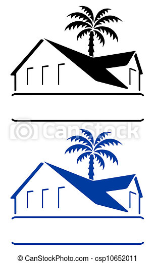 Bungalow Sign Vector Llustration Of A And Tropical