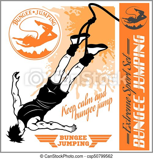 Bungee jumping. Vector set - badges and monochrome illustration. - csp50799562