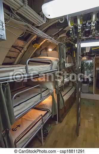 bunk beds in an old submarine sailors - csp18811291
