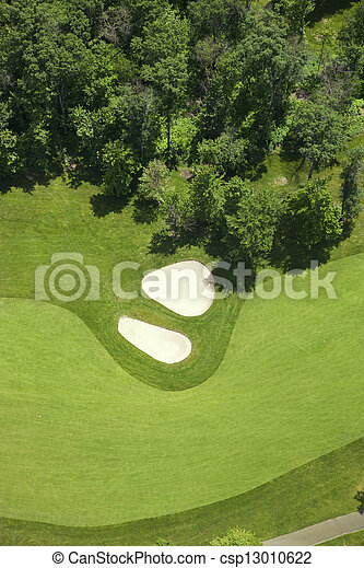 bunkere, fairlway, antenne, golf, udsigter - csp13010622