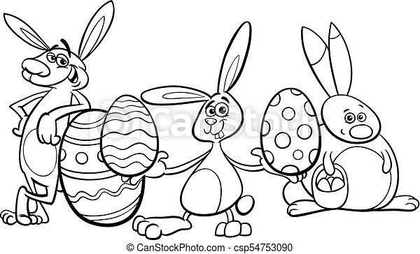 Bunnies And Easter Eggs Coloring Book. Black And White Cartoon Illustration  Of Funny Easter Bunnies Characters With Colored CanStock