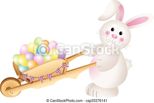 Bunny carrying Easter eggs - csp33376141