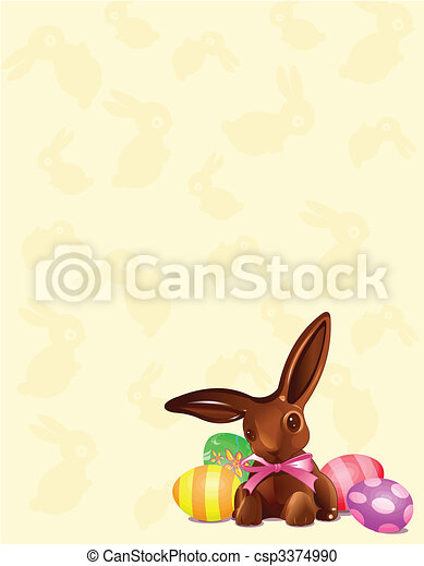 bunny easter, fundo, chocolate - csp3374990