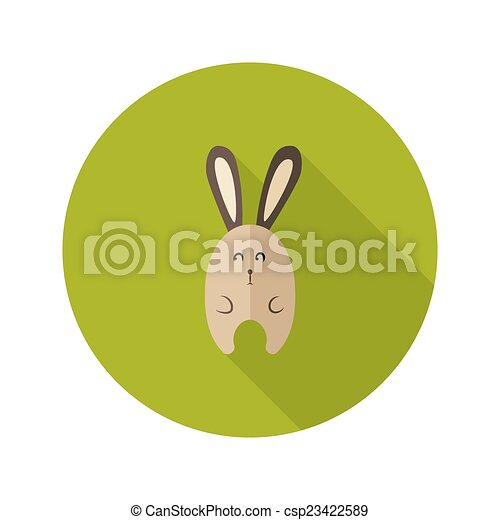 Bunny Flat Icon over Green - csp23422589