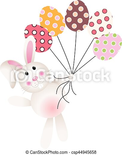 Bunny flying with Easter eggs - csp44945658
