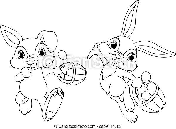 Bunny Hiding Eggs coloring page - csp9114783