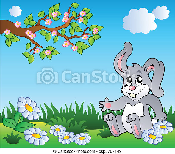 Bunny on meadow with daisies - csp5707149