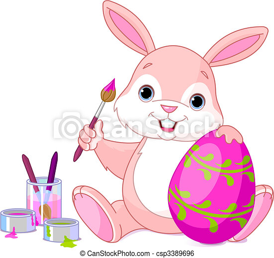 Bunny Painting Easter Egg - csp3389696