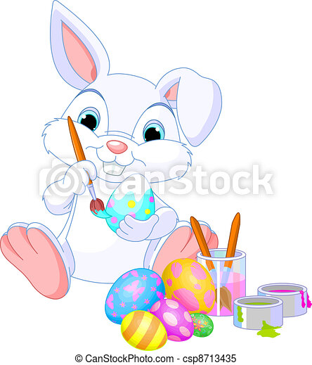 Bunny Painting Easter Egg - csp8713435