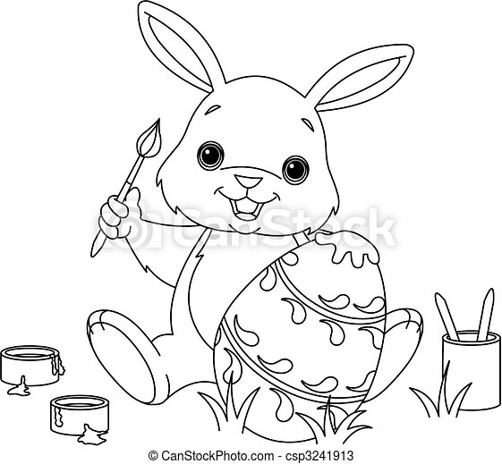 Bunny Painting Easter egg coloring page - csp3241913