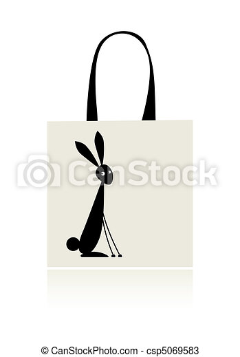 Bunny silhouette, design of shopping bag - csp5069583