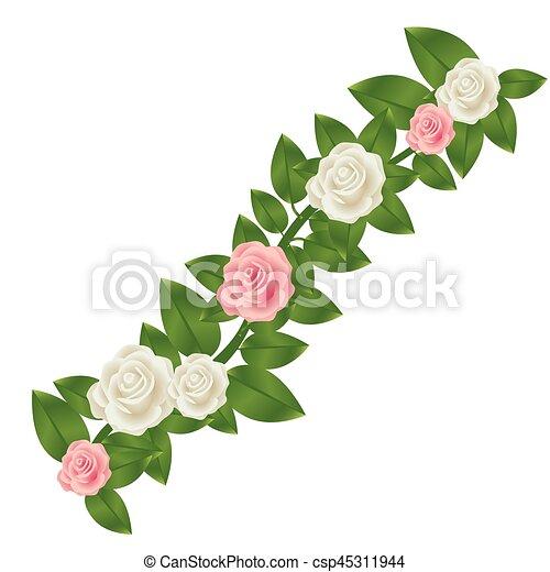 Bunte, blätter, krone, rosen, design, blumen- Bunte,... EPS Vektor ...