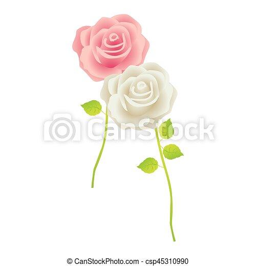 Bunte, blätter, stamm, rosen, design, blumen- Bunte,... EPS Vektoren ...