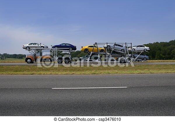 bunte, straße, lastwagen transport, autos - csp3476010