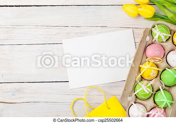bunte, tulpen, eier, gelber hintergrund, ostern - csp25502664